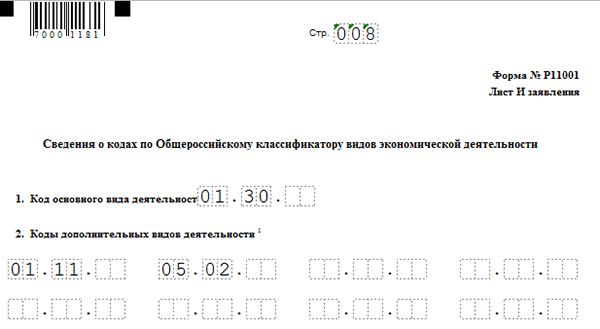 как заполнить ОКВЭД в форме Р11001