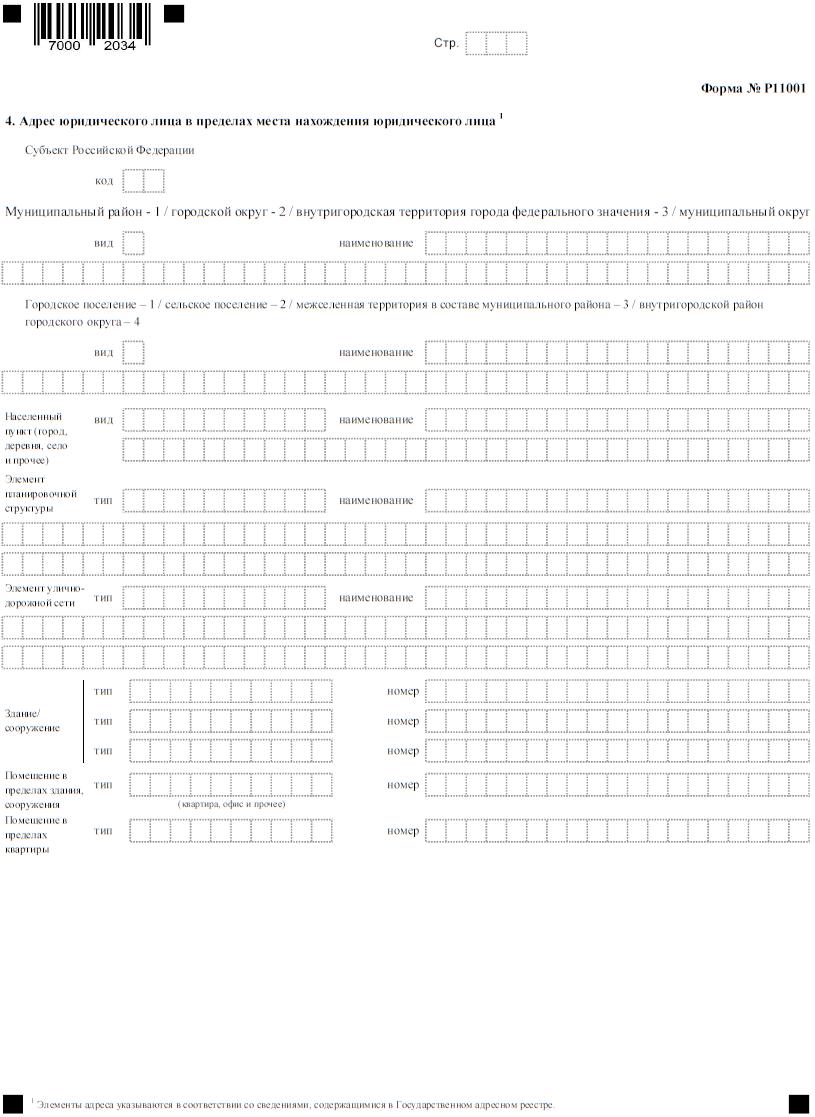 Бланк формы Р11001, титульный лист, страница 3