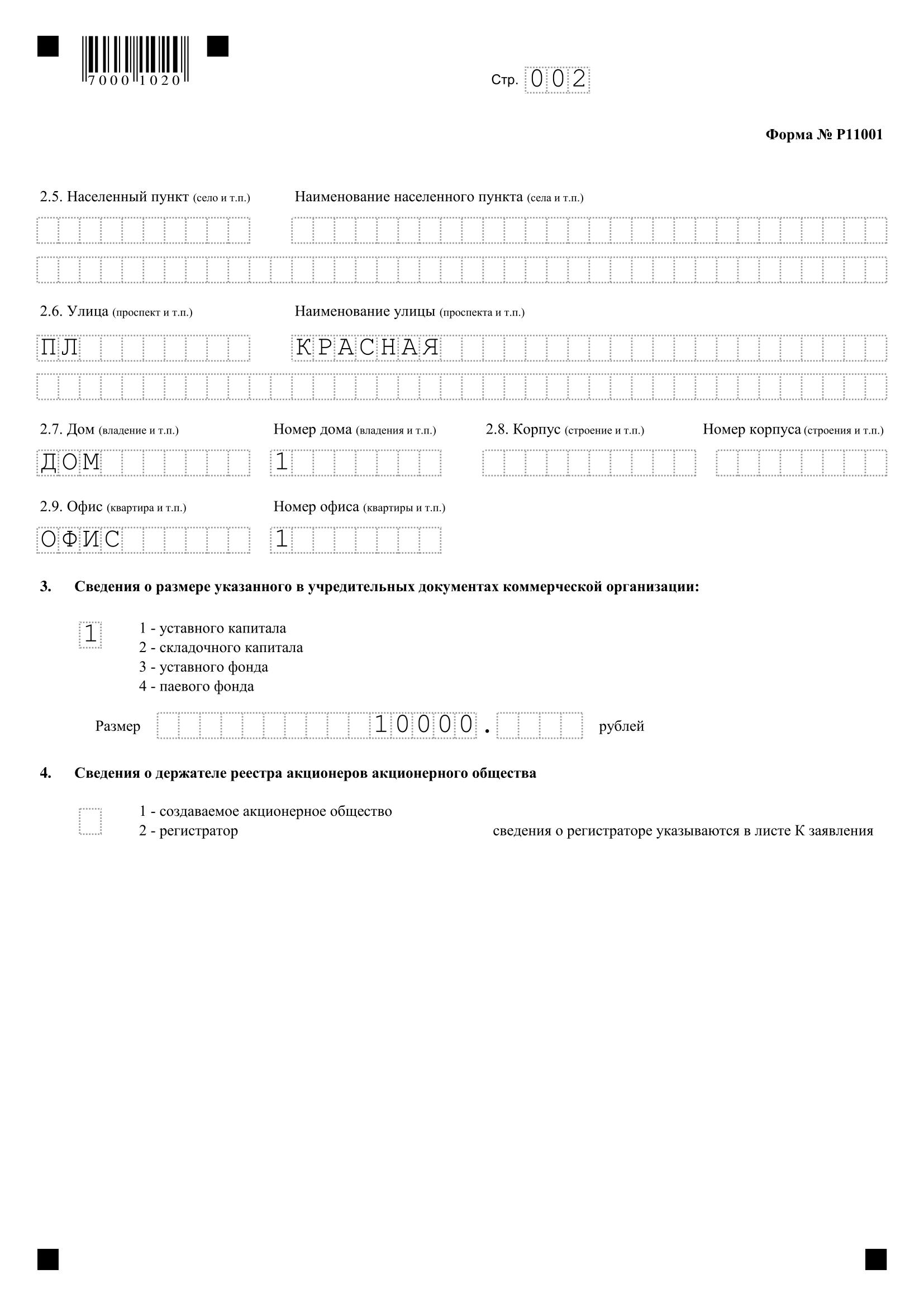 Образец заполнения Формы Р11001