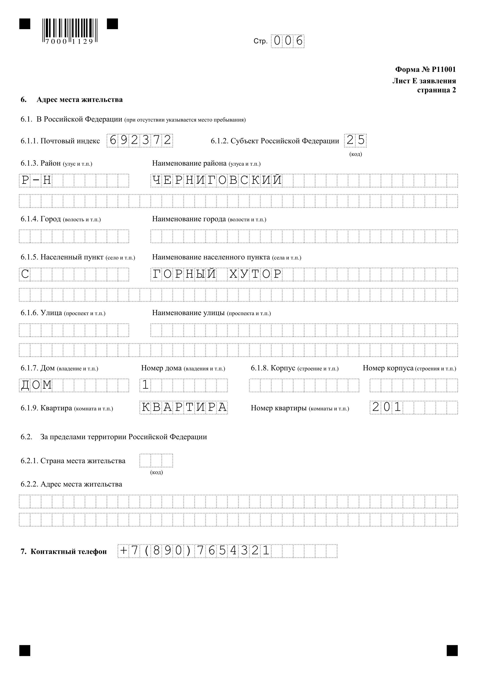 Образец заполнения формы р11001 скачать бесплатно